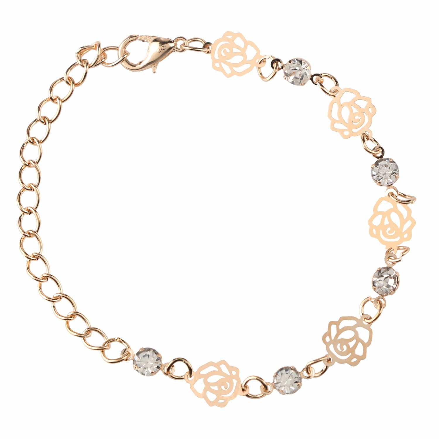 Efulgenz Rose Gold Plated Charm Fashion Bracelets Anklet Novelty Costume Fashion Jewellery for Girls and Women Love Gift