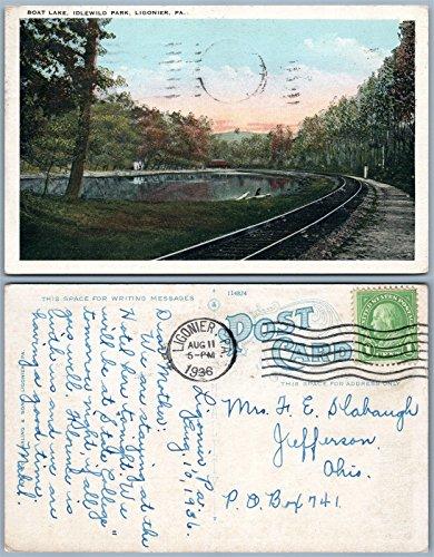 (LIGONIER PA BOAT LAKE IDLEWILD PARK 1936 VINTAGE POSTCARD railroad tracks)