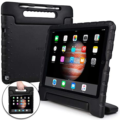 meet 88345 52225 Cooper Dynamo [Rugged Kids Case] Protective Case for iPad Pro 12.9 1st 2nd  Generation 2015 2017 | Child Proof Cover with Stand, Large Handle (Black)