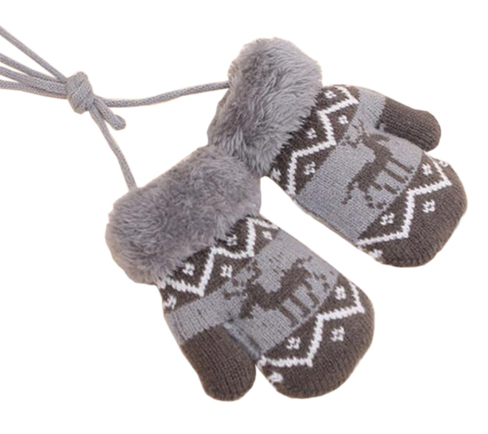 1 Pair Baby Winter Gloves with String [Deer] Ideal Baby Gift Black Temptation