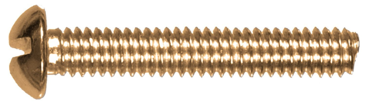The Hillman Group 2004 8-32 x 3//8 Brass Round Head Slotted Machine Screw 40-Pack