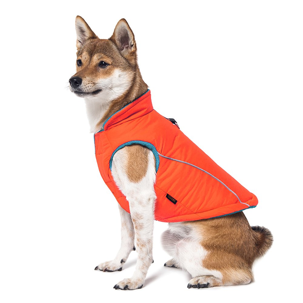 Gooby - Sports Vest, Fleece Lined Small Dog Cold Weather Jacket Coat Sweater with Reflective Lining, Orange, Large