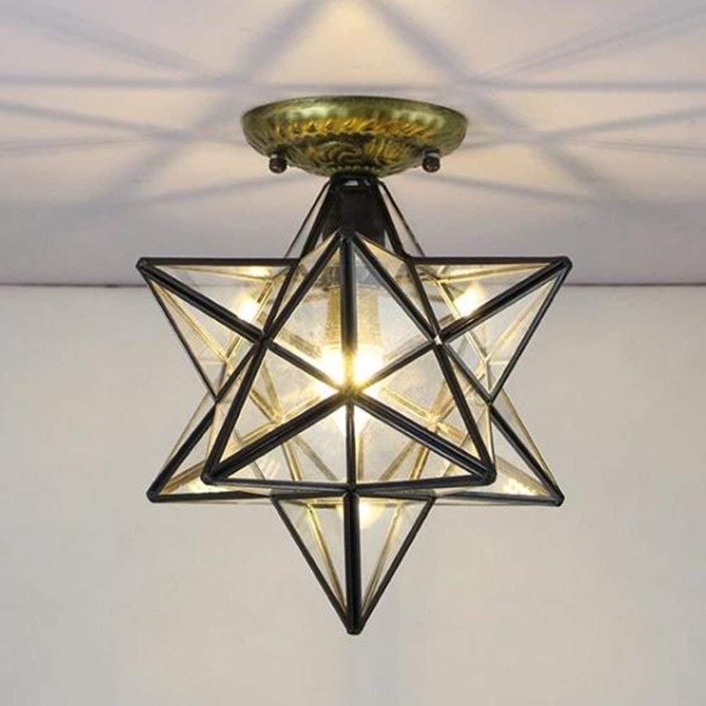 Haixiang glass moravian star ceiling lamp ceiling light flush mount iron lighting led light fixtures glass transparent bedroom indoor bedroom living