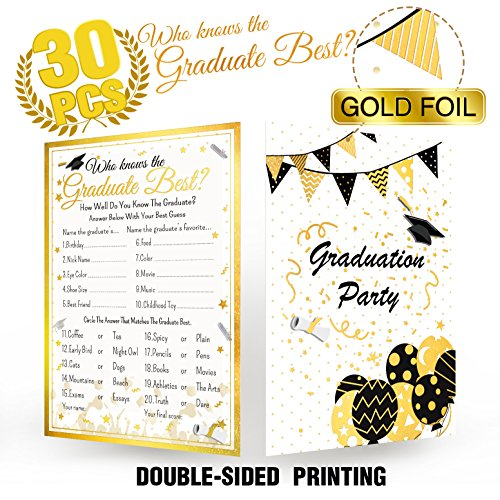 Who Knows Graduate Best Graduation Party Game Cards - 30 Pcs with Gold Foil Embossed-Grad Supplies,Favor,Decoration,Activities,Invitation - Class of 2019 High School,College,University