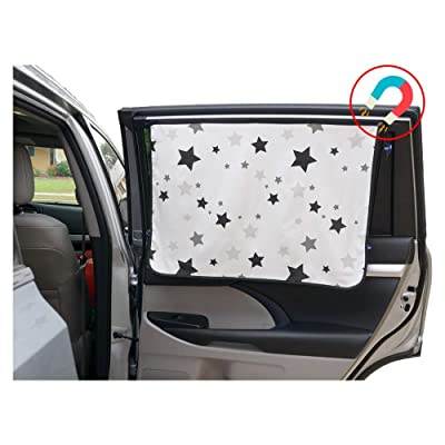 ggomaART Car Side Window Sun Shade - Universal Reversible Magnetic Curtain for Baby and Kids with Sun Protection Block Damage from Direct Bright Sunlight, Heat, and UV Rays - 1 Piece of Black Stars: Automotive