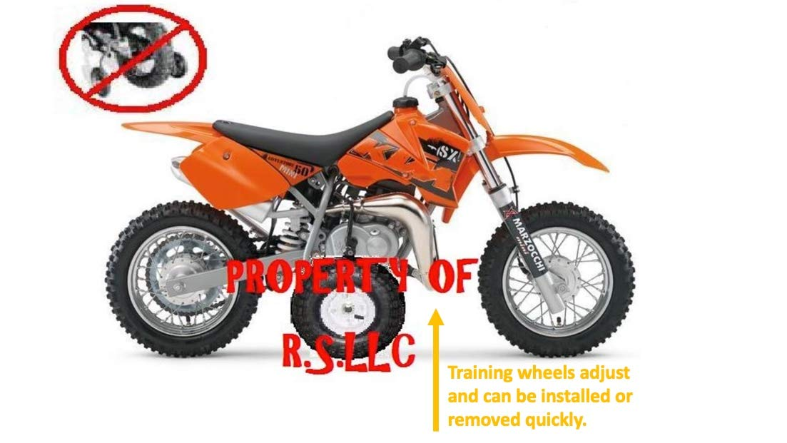 RSLLC Adjustable Motorcycle Training Wheels for KTM 50 Mini Adventure and Junior ONLY