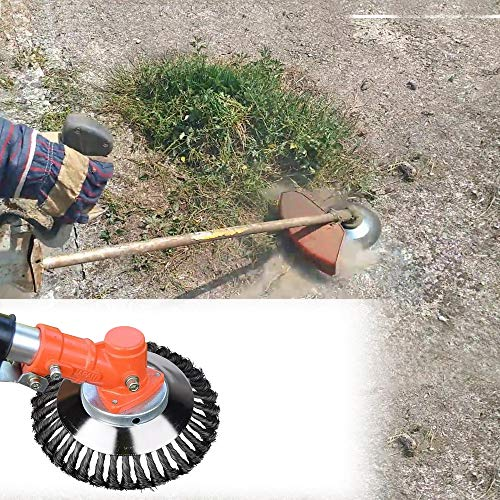 FUNTECK Steel Wire Brush Trimmer Head with Lawnmower Blade Adapter Attachment Kit for Trimming Around Brick Cement and Stone, Fits Most of Straight Shaft String Trimmer (6 inch)