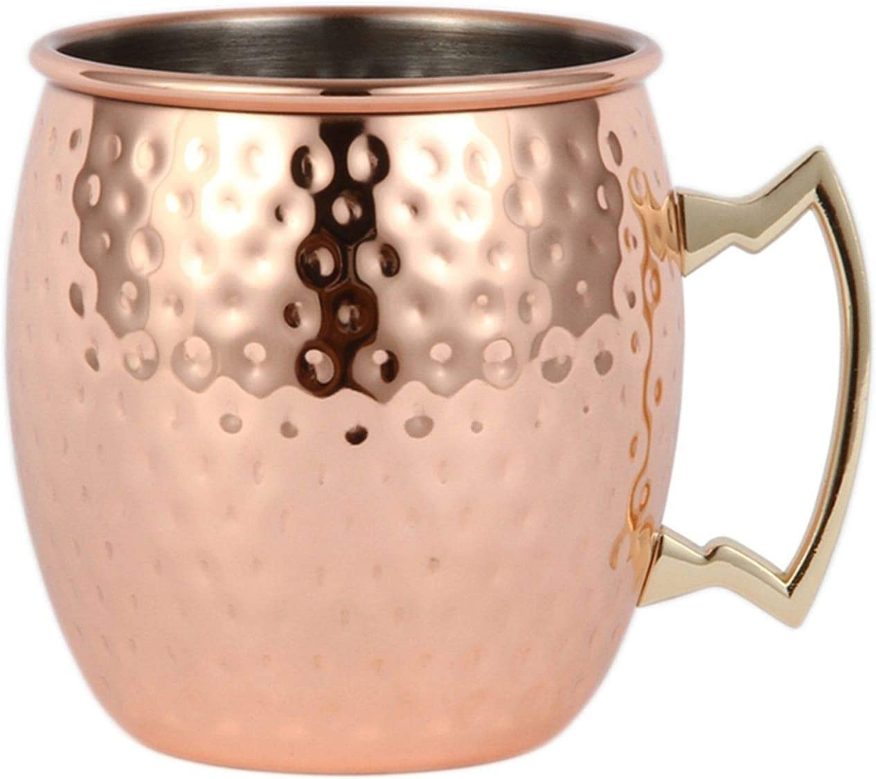 Hammered Moscow Mule Mug Drinking Cup Stainless Steel Copper Plated Cup 16 Oz US