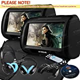 XTRONS Black 2x Twin 9'' Touch Screen Car Headrest DVD Player Games &Blue Children Headphones Included