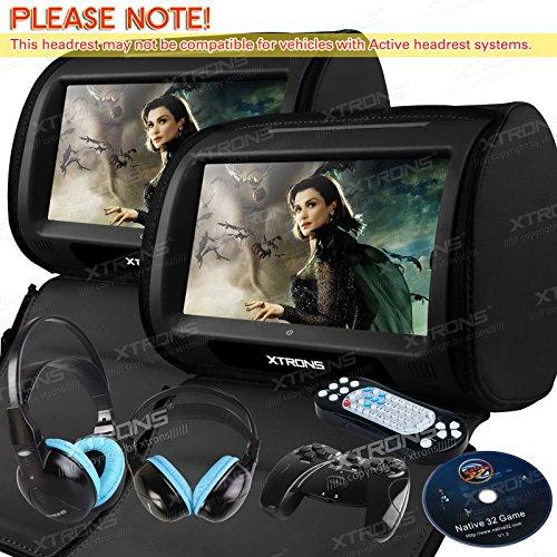 XTRONS Black 2x Twin 9″ Touch Screen Car Headrest DVD Player Games &Blue Children Headphones Included