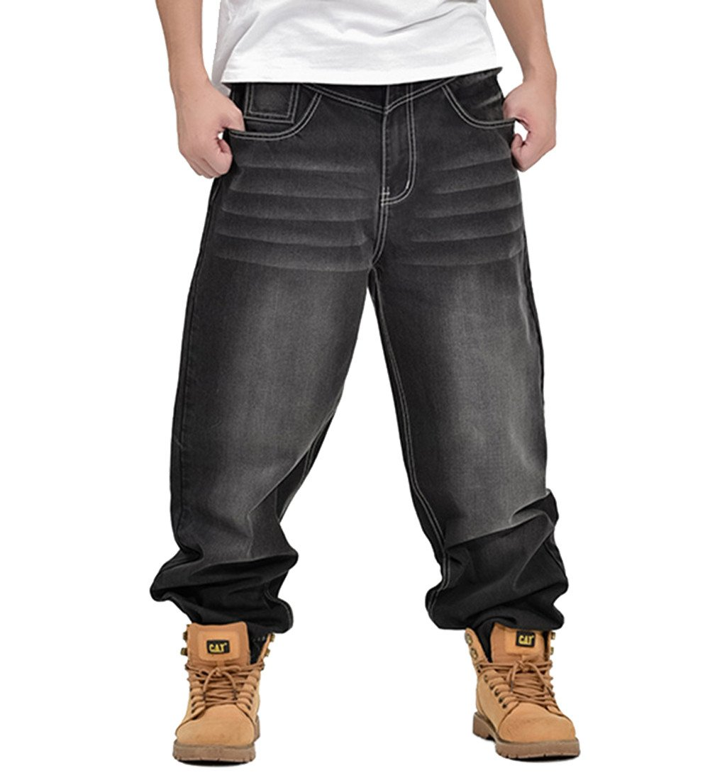 QIBOE Mens Fashion Half Denim Cargo Pant Summer Baggy Jeans-32
