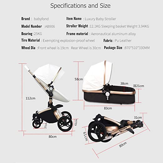 Baby Stroller,Babyfond 3 in 1 Baby Carriage Travel System Infant Pram  Convertible Safety Car Seat