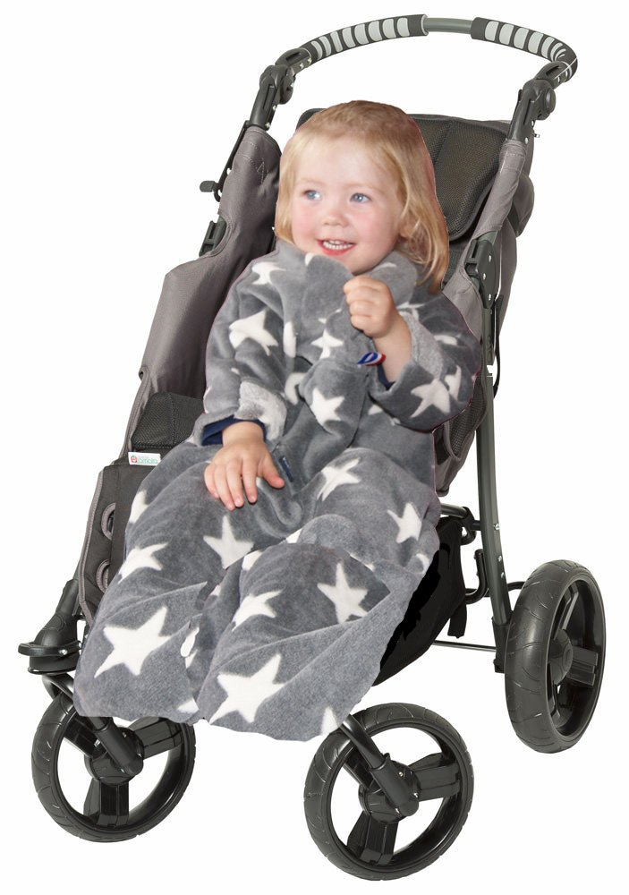 POP-ON Baby Toddler Blanket with Sleeves in Soft Cuddle Fleece for Buggy Pushchair Car Seats GREY STARS