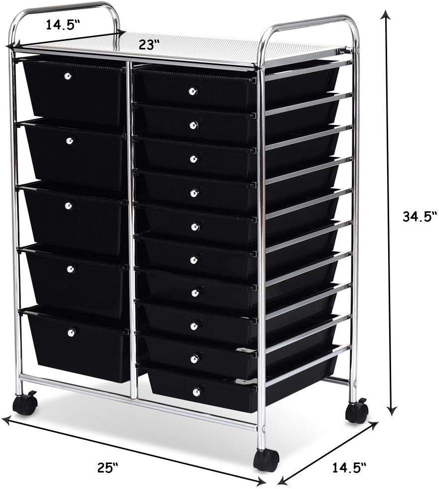 COSTWAYUS Plastic Boxes COSTWAY 15 Drawer Rolling Organizer Cart Utility Storage Tools Scrapbook Paper Multi-Use, Black: Home & Kitchen