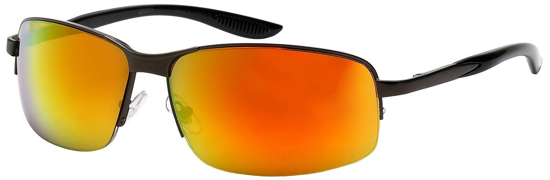 Edge I-Wear Semi-Rimless Square Frames w//Color Mirror Lens 25126S-REV