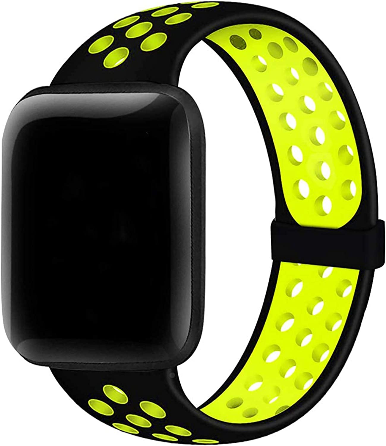 Silicone Band Compatible with Apple Watch Bands 38mm 40mm 42mm 44mm S/M M/L, Soft Silicone Strap Breathable Holes Workout Sport Replacement Strap Compatible for iWatch Band Series 1/2/3/4/5/6 SE Women Men