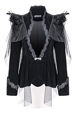 Darkinlove Veste en Velours Noir avec Broderie 8868ffb820f