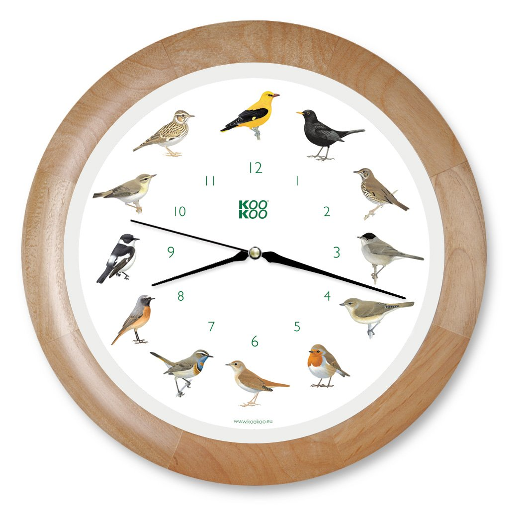 KOOKOO Singvogel, Cuckoo Clock, The Singing Bird Clock, Original Songbird Wall Clock with 12 Domestic Native Birds, Genuine Original Field Recordings, Including Light Sensor KooKoo GmbH