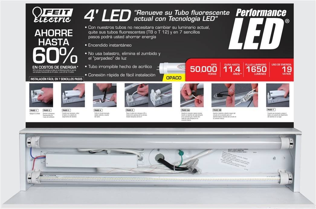 Feit Electric T4819/LEDIF/41K Direct Wire LED Fluorescent Tube Replacement Frost 4100K 4' Light Bulb, Bright White by Feit Electric (Image #5)