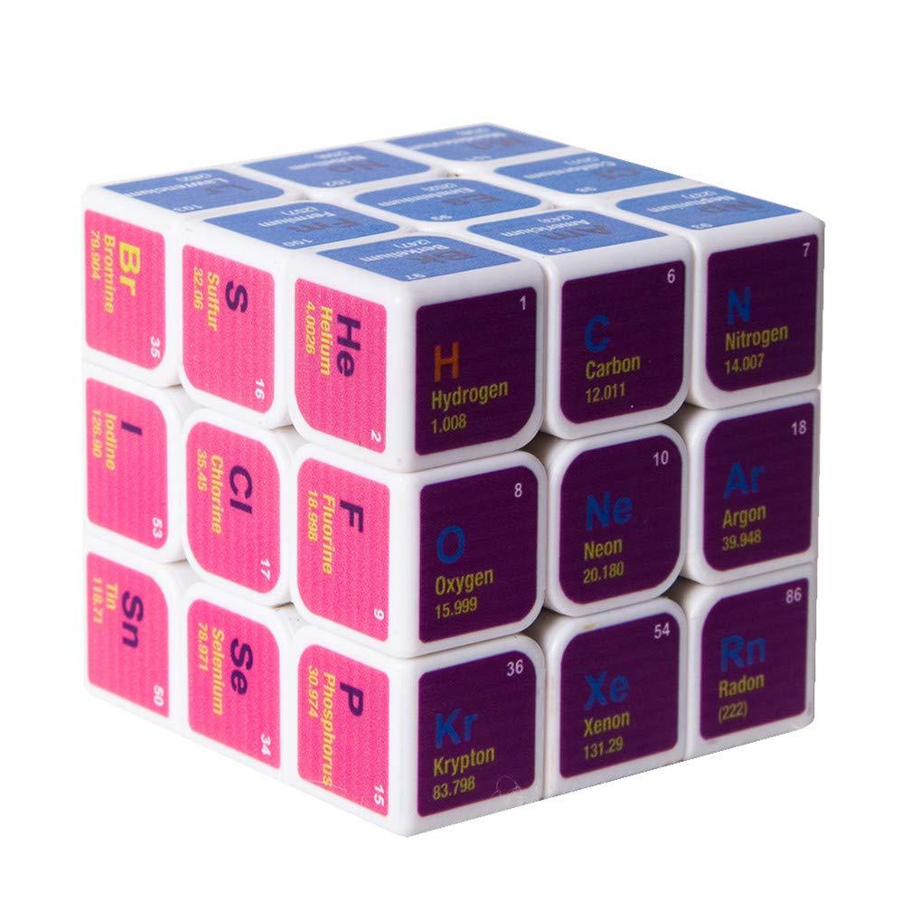 NESST Magic Cube Puzzle Toys Portable Cubo di velocit/à di Rubik per Adulti Chimica per Bambini Chimica personalit/à Creativa Carbon Fiber Turn Brain Training Gioco Education Toy 3X3x3,White