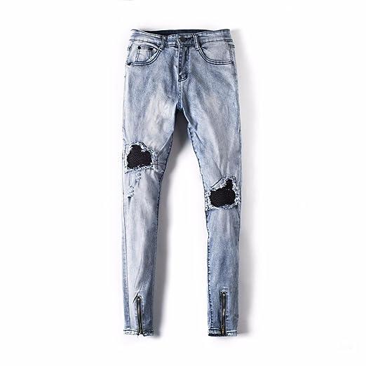 Hombre Pantalones Vaqueros Denim Jeans Deportivo con Bolsillos Pantalón Motorcycle Vintage Pantalones Casuales para Hombre: Amazon.es: Ropa y accesorios