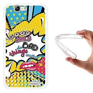 WoowCase - Funda Gel Flexible { Huawei Ascend G7 } Labios Comic Frase - Good Girls do Bad Things Sometimes Carcasa Case Silicona TPU Suave
