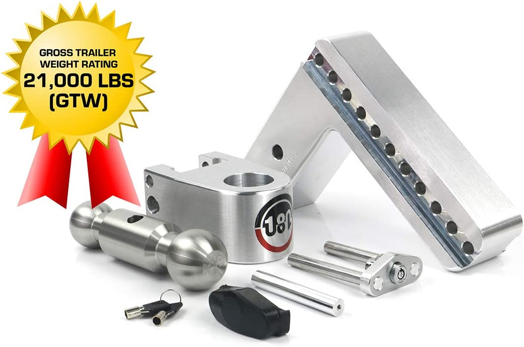 Weigh Safe 180 Hitch LTB8-3 8 Drop Hitch Adjustable Aluminum Trailer Hitch Ball Mount /& Stainless Steel Combo Ball Dual Pin Keyed Lock 3 Receiver 21,000 LBS GTW