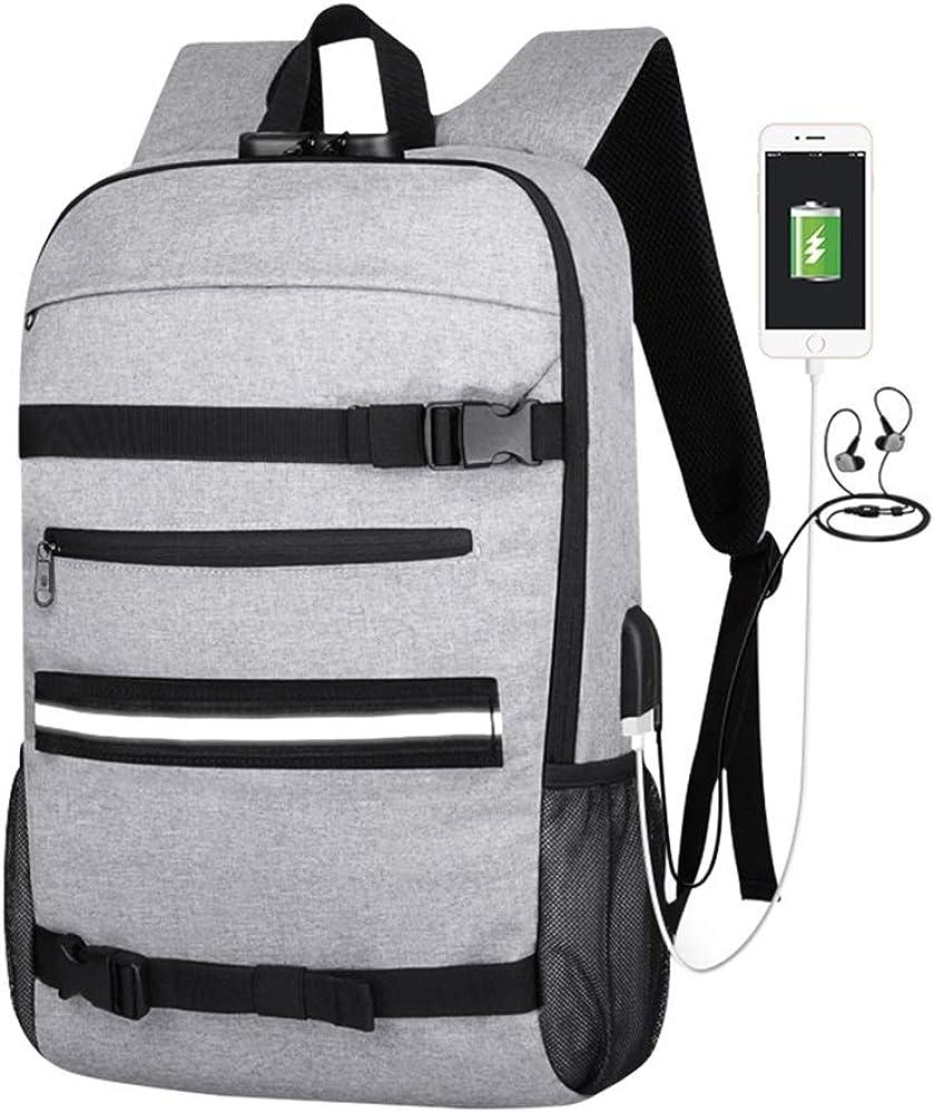 Simbow Laptop Backpack, Skateboard Backpack Basketball Rucksack with USB Charging Port, Anti-Theft Lock for Men& Women