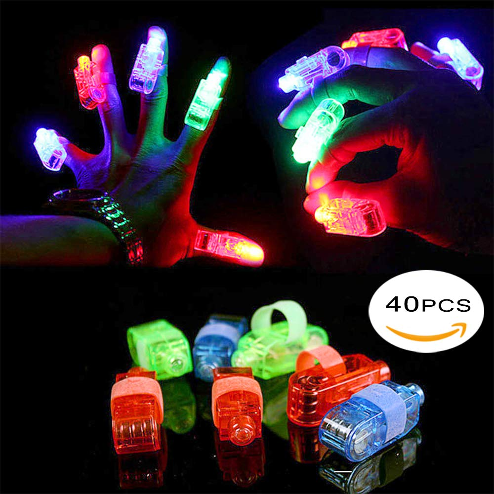 FYT 60 PCS LED Light Up Toys Glow In The Dark Party Supplies,Party Favors For Kids、Parents、Friends,With 40 LED Finger Lights+10 LED Lighted Rings+ 5 Bracelets+ 5 Flashing Slotted Shades Glasses by FYT (Image #4)