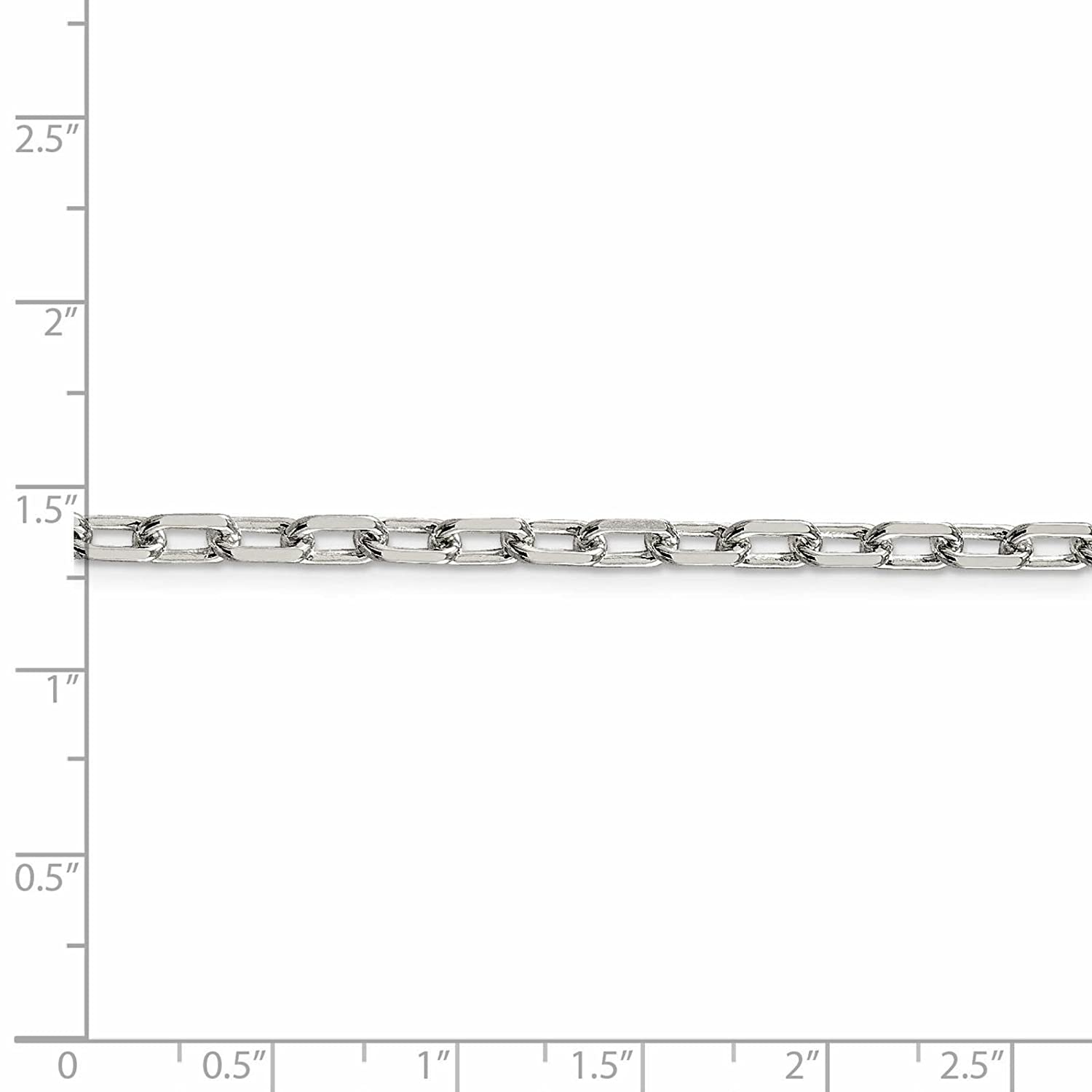 925 Sterling Silver 4.3mm Diamond-Cut Open Link Cable Chain Necklace 7-24