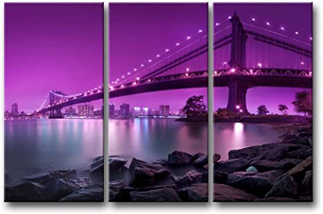 3 Pieces Purple Wall Art Painting Manhattan Bridge With Purple Light Prints On Canvas The Picture City Pictures Oil For Home Modern Decoration Print Decor For Bedroom