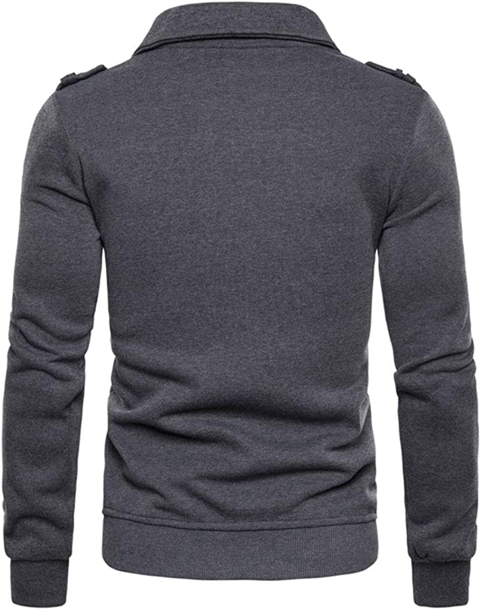 Mens Side Zip Closure Lapel Collar Casual Long Sleeve Outerwear Top Classic