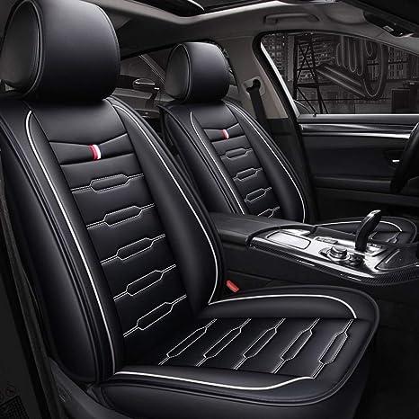 Color : Black and White AX-Car Autositzbezug hinteres atmungsaktives Leder-Komfortpolster f/ür Fahrerairbag-kompatibles Autozubeh/ör