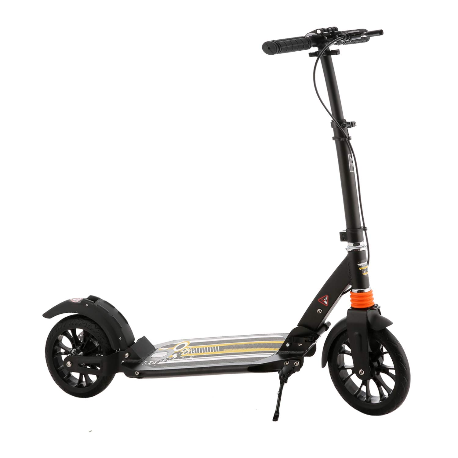 Kids/Adult Scooter with 3 Seconds Easy-Folding System, 220lb Folding Adjustable Scooter with Disc Brake and 200mm Large Wheels (Black(with Hand Disc Brake))