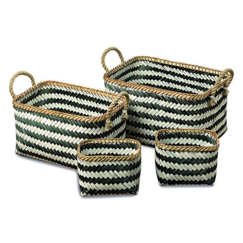 The Black and White Rectangular Rustic Nesting Baskets with Natural Rope Side Handles, Set of 4, Bamboo Wicker Weave, Various Sizes 17, 15 and 8 3/4 Inches Long, By Whole House Worlds (Rope Boxes Woven Set)
