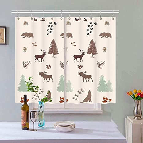 Amazon Com Bear Kitchen Curtain Bear Elk Moose Wolf Pine Forest Wildlife Window Curtain Panel Rustic Cabin Kitchen Window Drapes Window Treatment Sets With Hooks 55x39 In Kitchen Dining