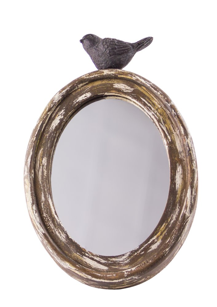 Rustic Chic Oval Wooden Mirror a Decorative Finch Nesting on Top - 10''