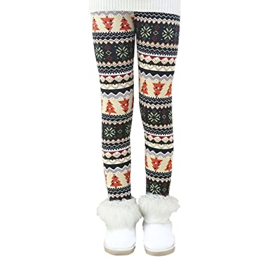 6bdf15d59a0bf Soly Tech Kids Girls Winter Thick Pants Fleece Lined Leggings for Christmas