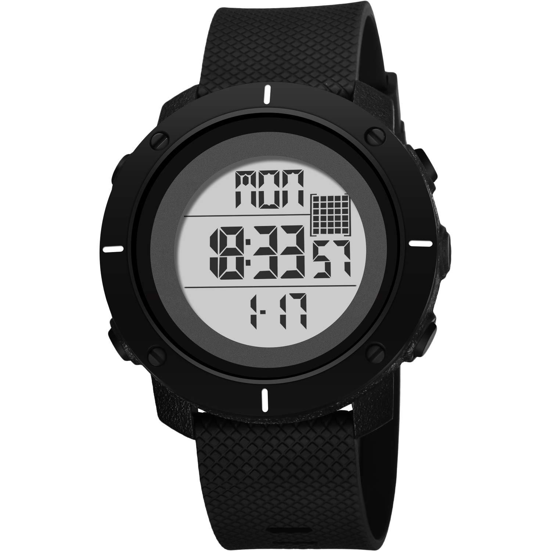 ZMH Reloj para Hombre Impermeable Reloj Deportivo para Hombre Reloj Electrónico para Estudiantes Reloj Explícito Digital para Exteriores Regalo,Black: ...