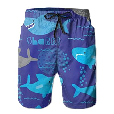 BBAngle Shark Mens Board Shorts Swim Trunks Men Tropical Basketball Swim Board Shorts