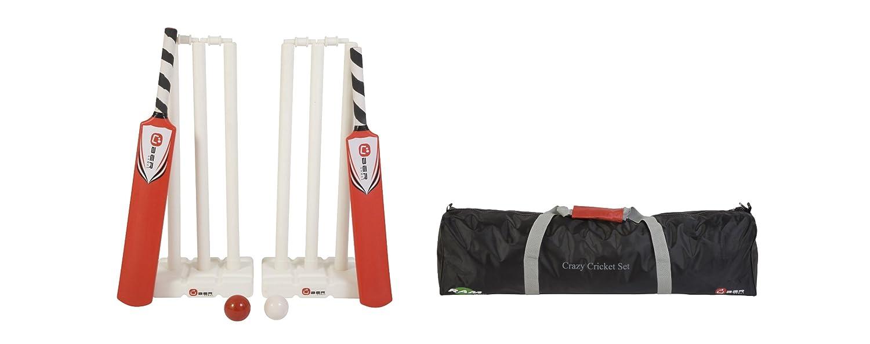 Crazy Cricket - Juego completo de críquet para exteriores (incluye 2 bates talla 3 y 5, 2 conjuntos de rastrillos y travesaños, dos bolas de críquet y una bolsa de transporte) Uber Games UG 810