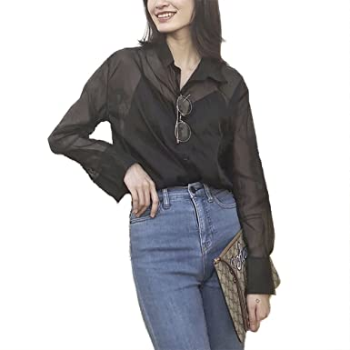 e6f3ed116625bf Amazon.com  QZUnique Women s Blouse Solid Color See-Through Chiffon Shirt  Long Sleeve Cover-up Top Black  Clothing