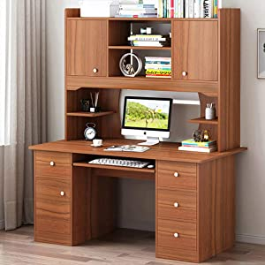 "Computer Desk with Hutch and Bookshelf,Workstation Heavy Duty 47""X18""X68""Sturdy Office Desk with Storage Shelves for Home Office"
