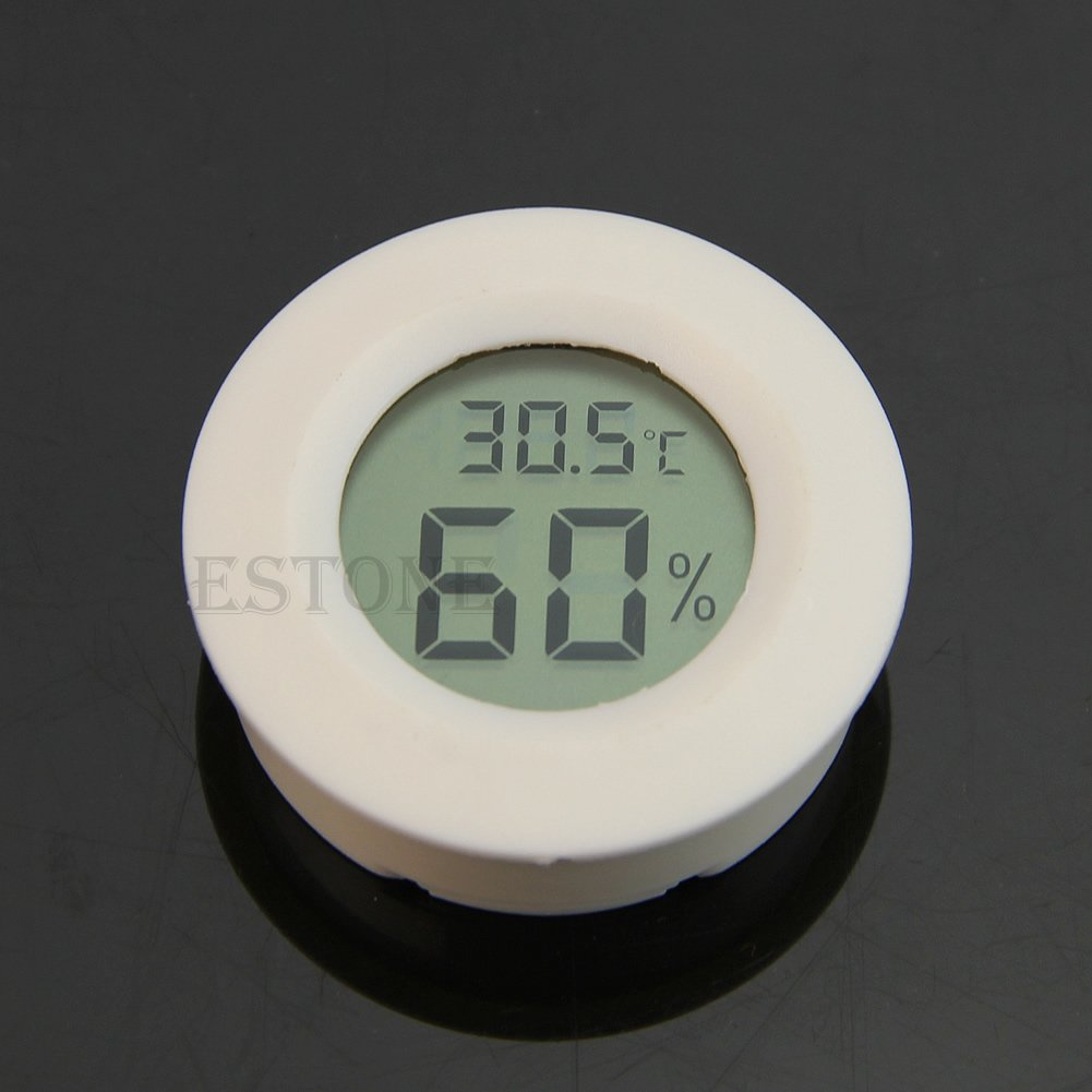 Amrka Mini Indoor Outdoor LCD Hygrometer Humidity Thermometer Round Temperature Meter (White)
