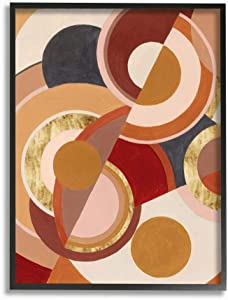 Stupell Industries Abstract Organic Red Brown Circles Asymmetric Design, Designed by Grace Popp Wall Art, 11 x 14, Black Framed