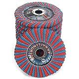 Anncus 2Pcs 4''x7/8'' Zirconia Alumina Abrasive Flap Disc, Radial Shape Round Hole Phenolic Resin Backing for Metal Polishing Grinding