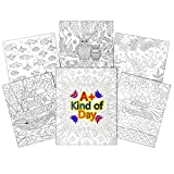 C-Line UColor Two Pocket Coloring Folders, Set of 6 Assorted Child Patterns (15207)