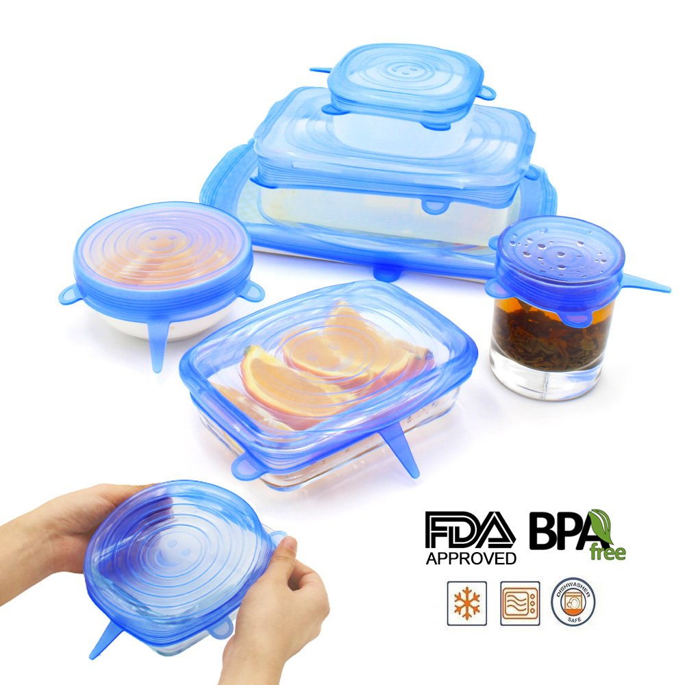 NEWBEA Silicone Stretch Lids,12-Pack Various Sizes ,Reusable, Durable Expandable to Fit Various Size Shape Containers As Seen On TV,Keeping Food Fresh, Dishwasher Freeze by NEWBEA (Image #2)