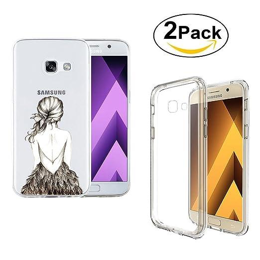 2 opinioni per Galaxy A5 2017 Cover , YIGA Ragazza Posteriore Piume Trasparente Silicone