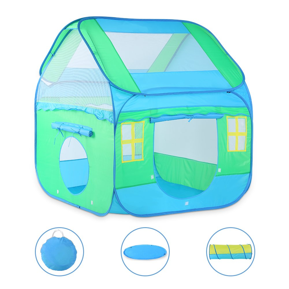 Large Kids Play Tent, Vbestlife Children Pop-Up Playhouse Tent (3pc) includes Playhouse, Tunnel and Playmat, Indoor Outdoor, with Anchors and Carrying Case- Best Gift for Boys Girls
